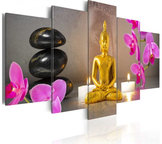 Tableau Golden Buddha And Orchids 100 X 50 Cm
