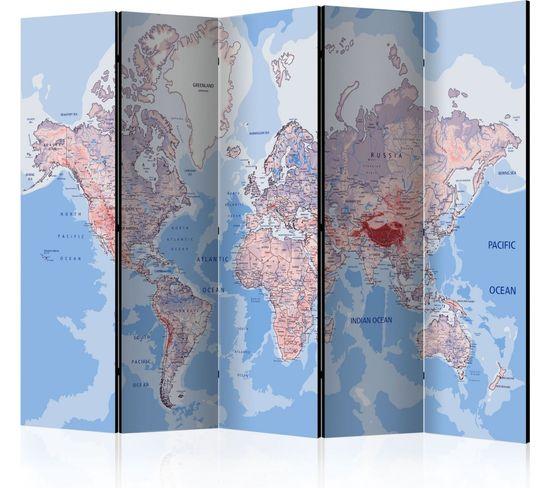 Paravent 5 Volets World Map