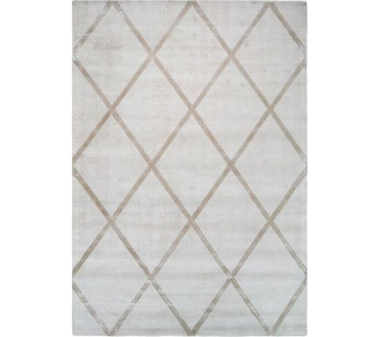 Tapis Fait Main Luxe 210 Ivory Taupe 80 X 150 Cm
