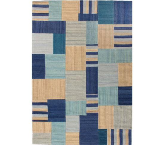 Tapis Fait Main Radical 315 Bleu Multicolore 160 X 230 Cm