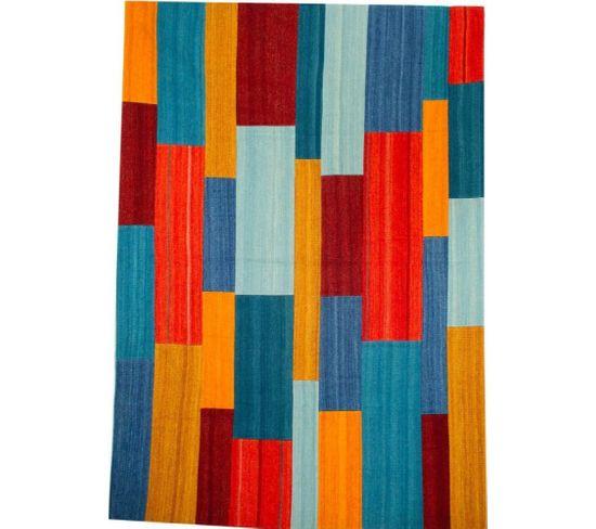 Tapis Fait Main Radical 335 Rouge Multicolore 160 X 230 Cm