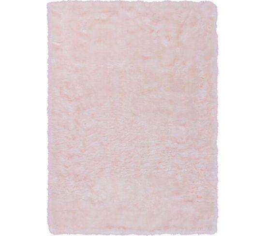 Tapis Tufté À La Main Couronne 110 Blanc Rose Poudre 80 X 150 Cm