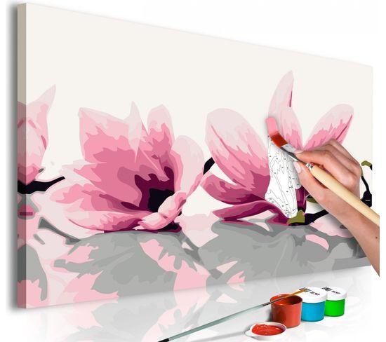 Tableau À Peindre Magnolia Fond Blanc - 40 X 40 Cm