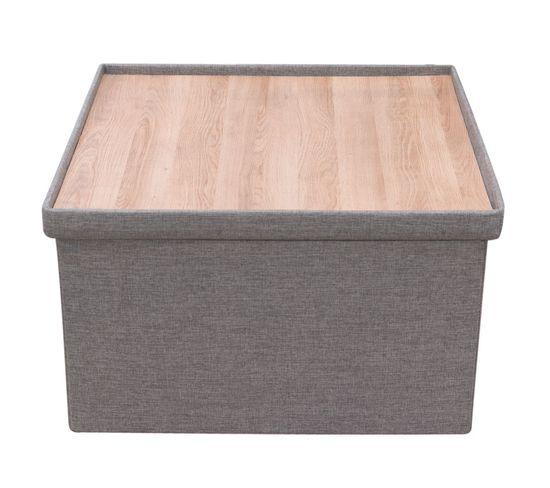 Coffre Rangement Xxl Pouf Reversible Table Basse Gris Pouf Poire But