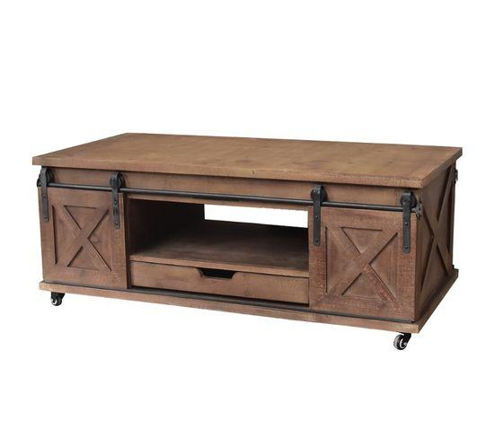 Grande Table Basse De Salon Bois Fer Porte A Roulettes 120x60x45