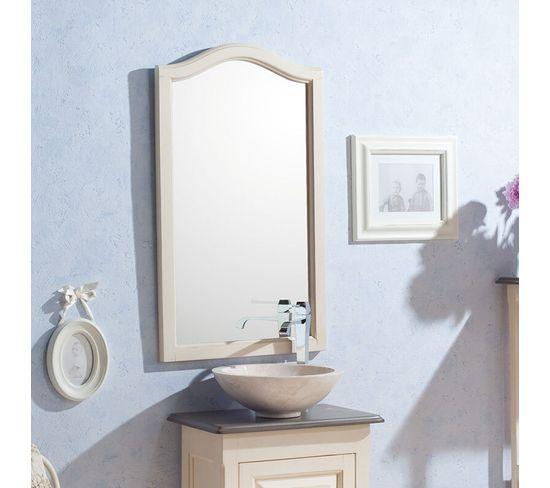 Miroir 50 Cm En Acacia Blanc Vieilli - Garriguo