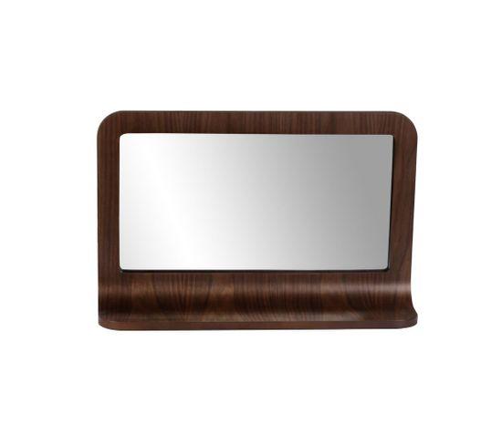 Miroir Plaqué Noyer 72 X 45 Cm Avec Tablette Chill