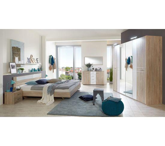 Chambre Adulte Complète, Imitation Chêne, Rechampis Verre Blanc + Chrome -  Dim : 180 X 200 Cm -