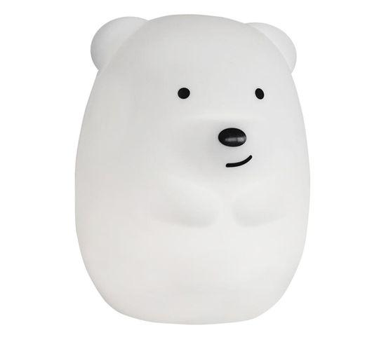 Veilleuse Bébé Ours Touch Teddy Blanc Plastique H19cm