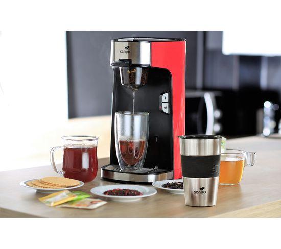 Machine À Thé Tea Time, Théière Électrique Rouge Et Son Tea Mug Isotherme Double Paroi
