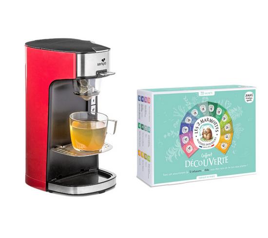 Set Machine À Thé Crème Tea Time et Le Coffret Découverte De 72 Sachets Les 2 Marmottes