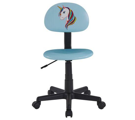 Chaise De Bureau Pour Enfant Unicorn Revetement Synthetique Bleu Clair Avec Motif Licorne Chaise Fauteuil Bureau But