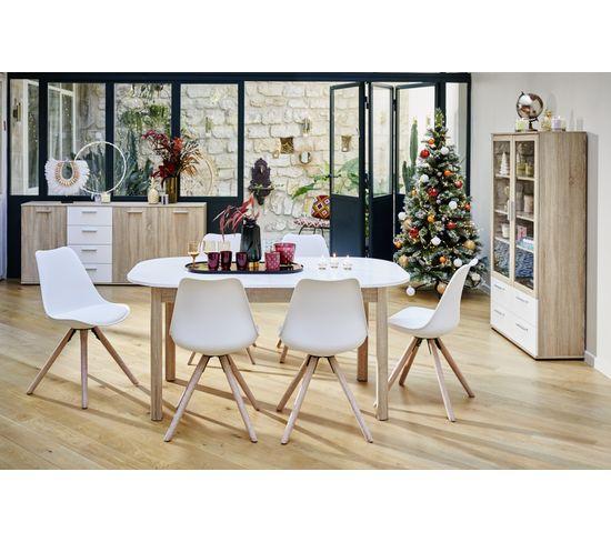 Buffet 3 portes/4 tiroirs TOLEDO décor chêne sonoma/blanc