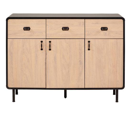 Rangement 3 portes + 3 tiroirs Sixties imitation chêne et noir