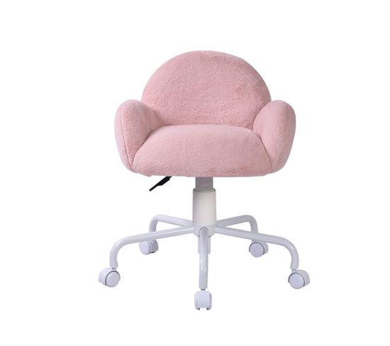 Chaise de bureau CORALIE Blanc et rose