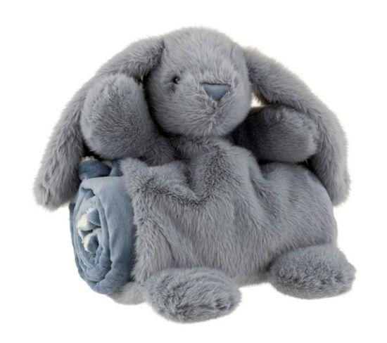 """Peluche et Couverture Enfant """"lapin"""" 30 cm Bleu"""