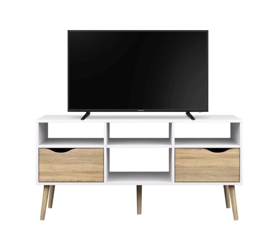 Meuble TV OSLO Blanc/chêne
