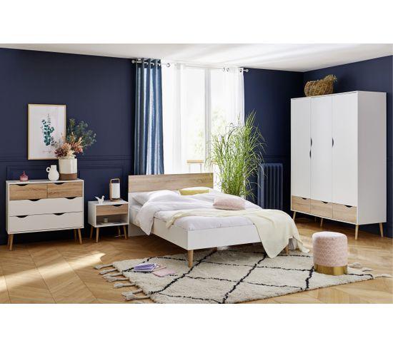 Armoire 3 portes et 3 tiroirs L.147 cm OSLO blanc/ imitation chêne