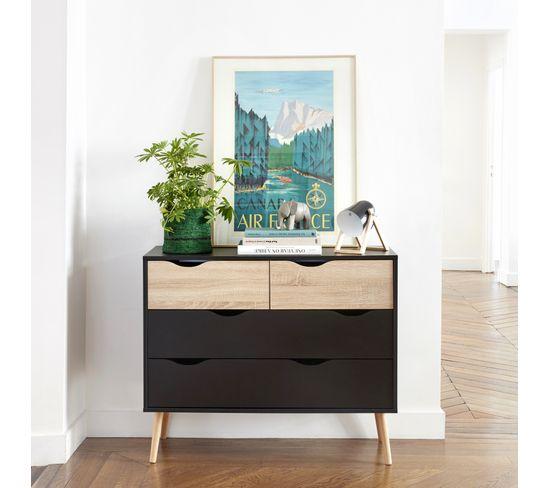 Commode 4 tiroirs OSLO NOIR noir/ imitation chêne