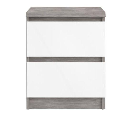 Chevet 2 tiroirs BEST LAK blanc laqué béton