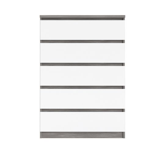 Commode 5 tiroirs BEST LAK blanc laqué imitation béton