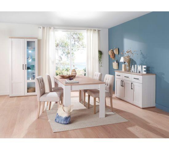 Table L160 avec allonge ROMANCE imitation Pin/ imitation Chêne