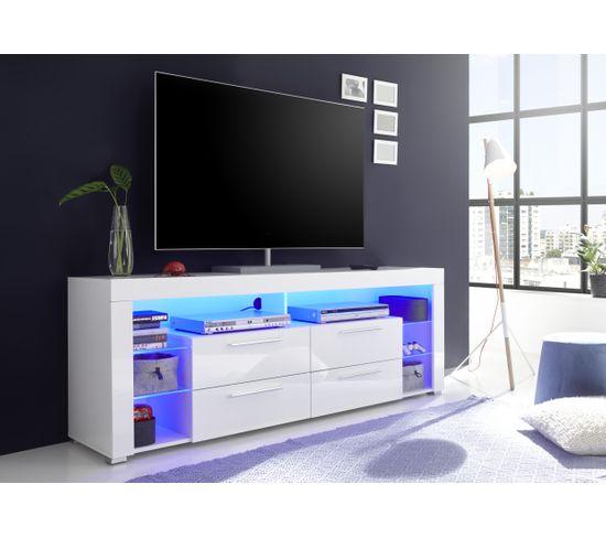 Meuble TV LED SPACE Blanc laqué