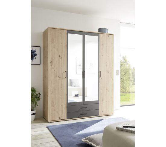 Armoire 4 portes et 2 tiroirs ARTY imitation chêne et gris avec penderie et lingère