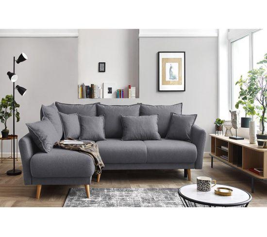 Canapé d'angle gauche convertible MIA Tissu gris foncé