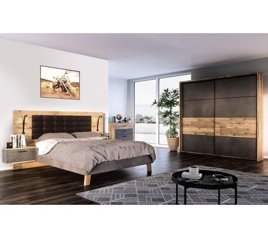 Lit 160x200cm chevets intégrés RICCIANO imitation chêne béton gris