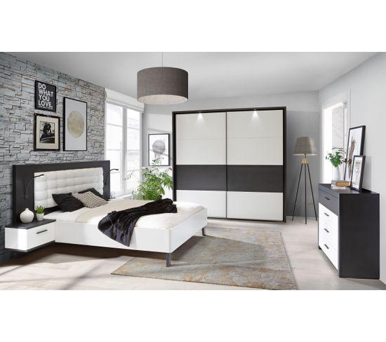 Lit 160x200cm chevets intégrés RICCIANO blanc et noir