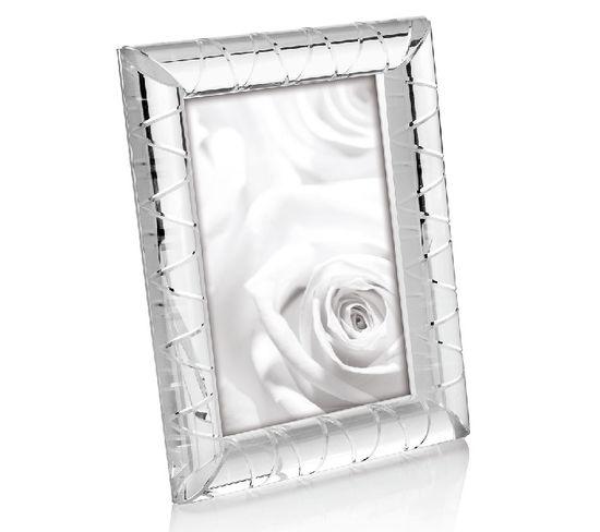 Cadre Géométrique - Porte-photo, Image - Blanc En Cristal, Verre, 13 X 2,4 X 18 Cm