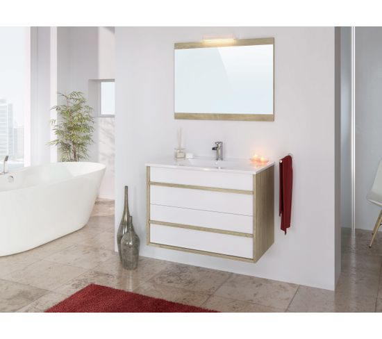 Meuble de salle de bain 80 cm KOH TAO Imitation chêne et blanc