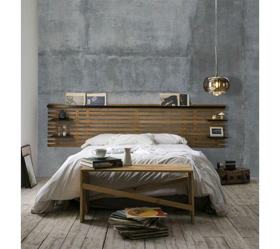 Tête de lit avec tablettes NIDRA bois et noir - style industriel
