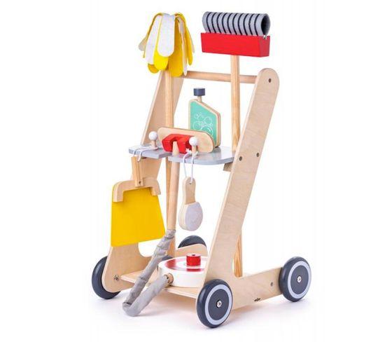 Clean Chariot De Menage En Bois 6 Pieces Porteur Bebe Chariot Bebe But