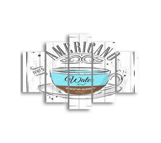 Tableau Café - 5 Pièces - Multicouleur En Mdf, 95 X 0,3 X 60 Cm