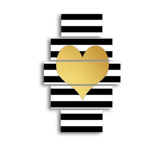 Tableau Coeur - 5 Pieces - Valentine's Day -multicouleur En Mdf, 95 X 0,3 X 60 Cm