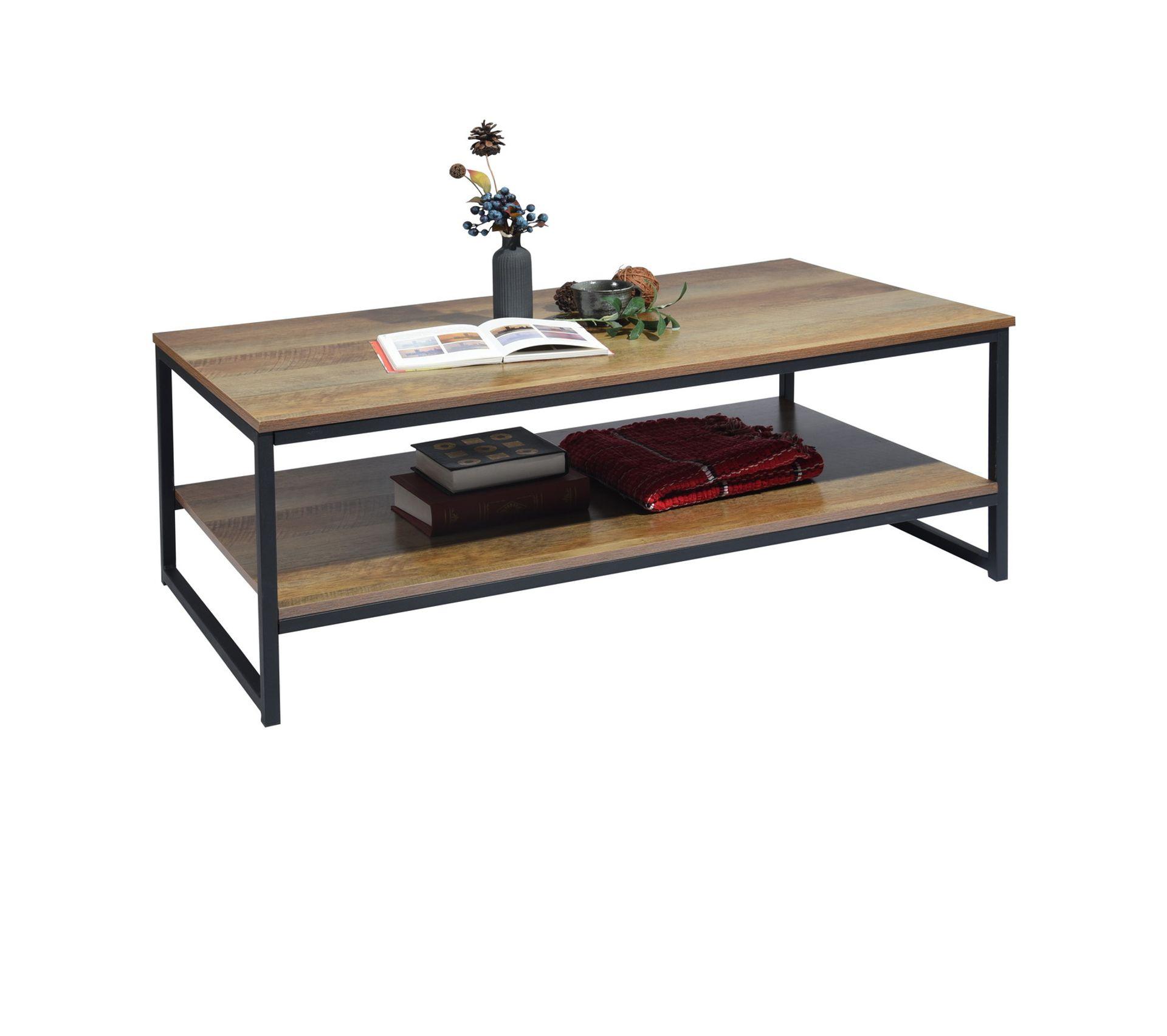 Table Basse Rectangulaire 2 Couches Bois Fonce Noir Table Basse But