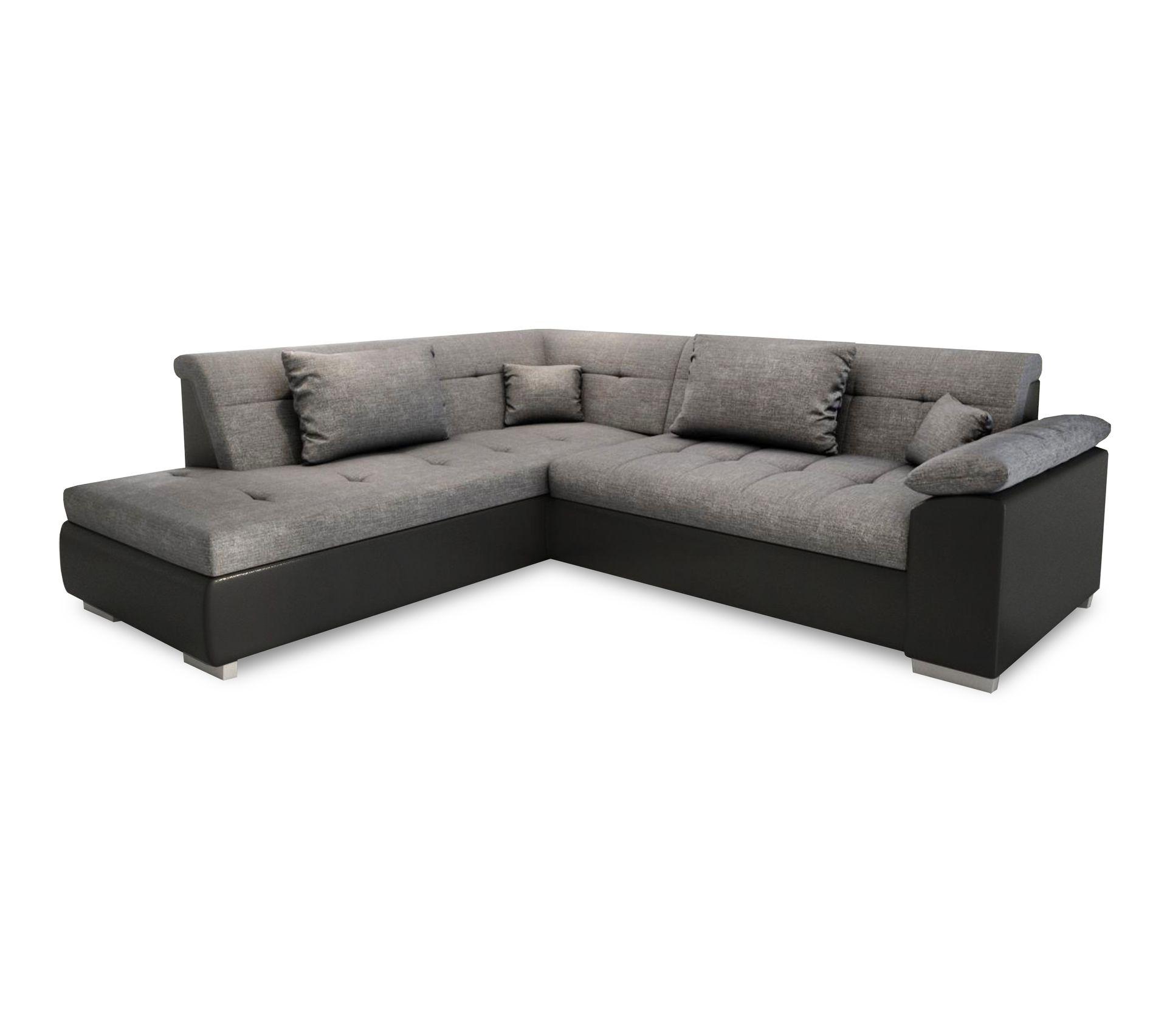 Table A Langer D Angle canapé dangle convertible en lit lito - angle gauche en tissu gris et  simili cuir noir