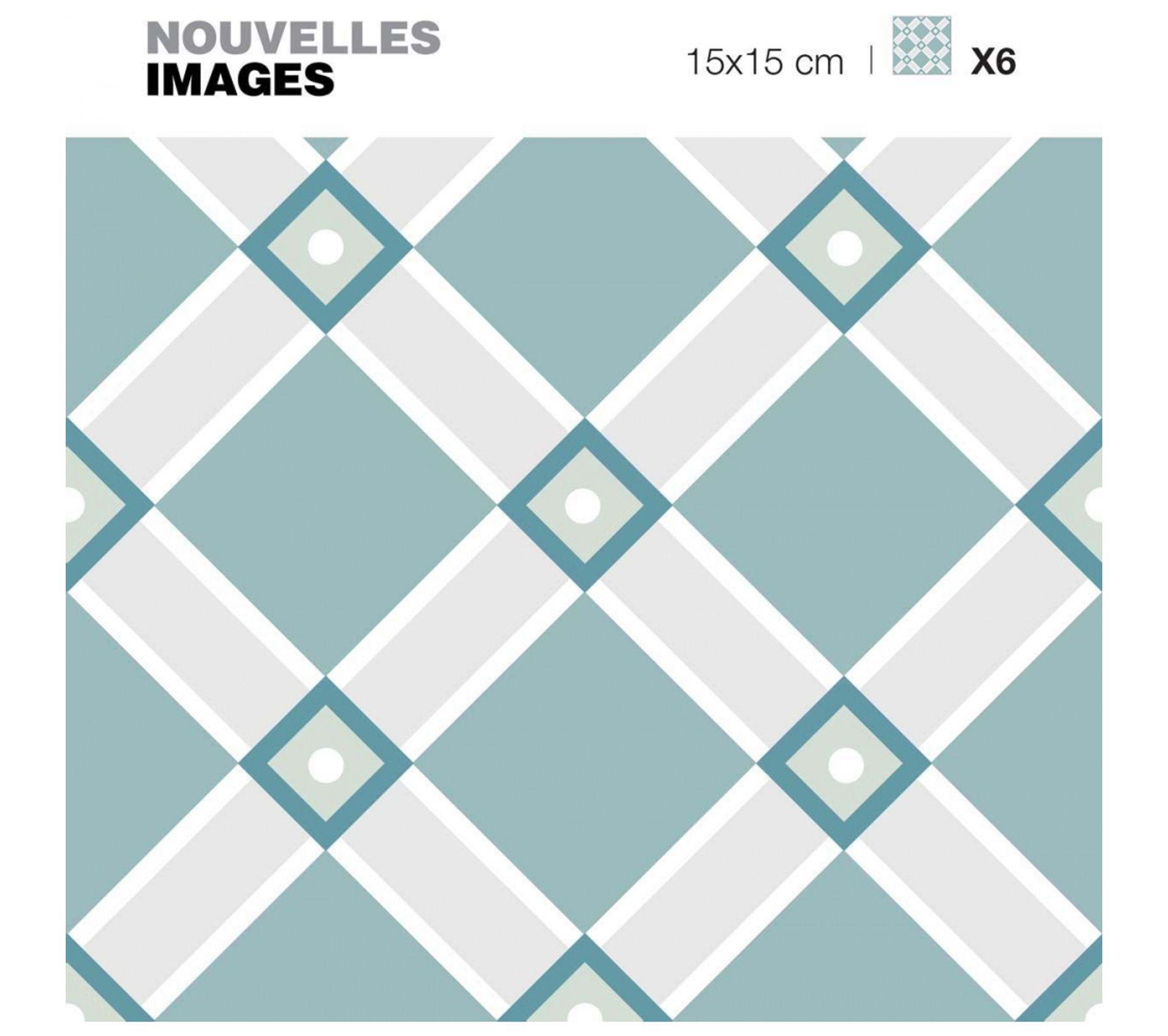 Stickers Croisillons Vert Pastel Et Gris ( Lot De 6)