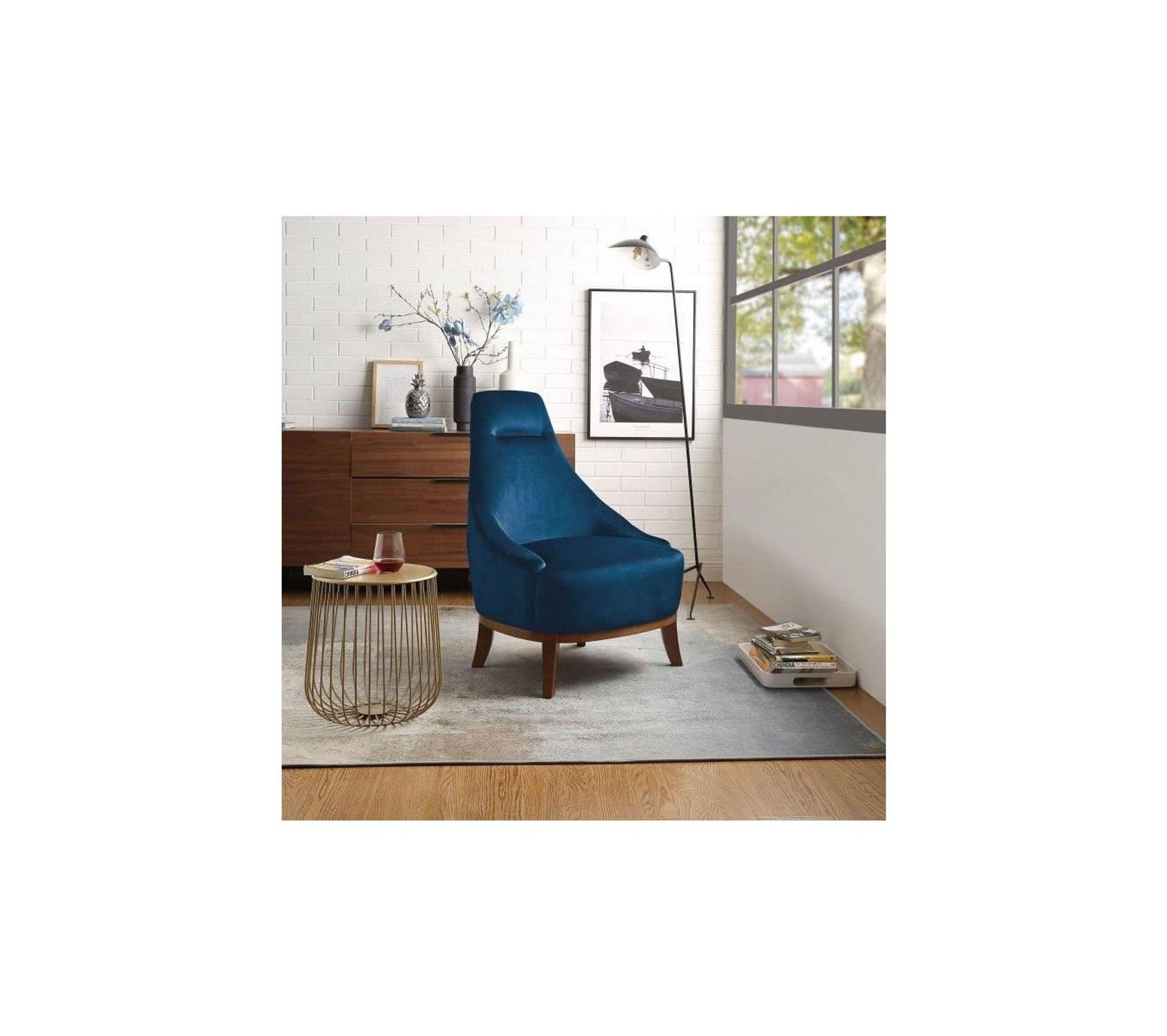 Joseph Fauteuil Pieds Bois Velours Bleu L 64 X P 71 X H 93 Cm