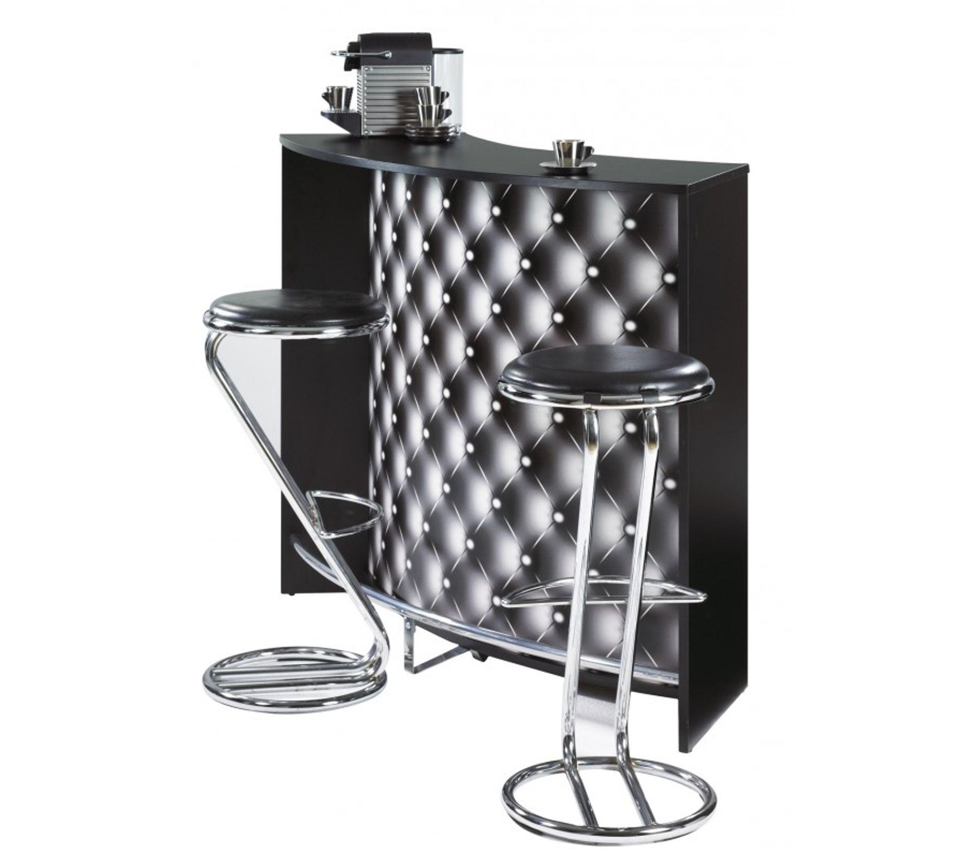 Meuble Bar Comptoir D Accueil Noir 135 Cm Coloris Capitons 911 Bar But