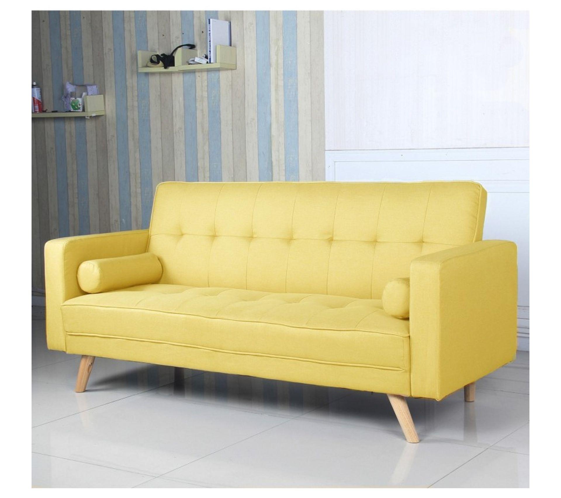 canapé convertible clicclac scandinave slow tissu jaune