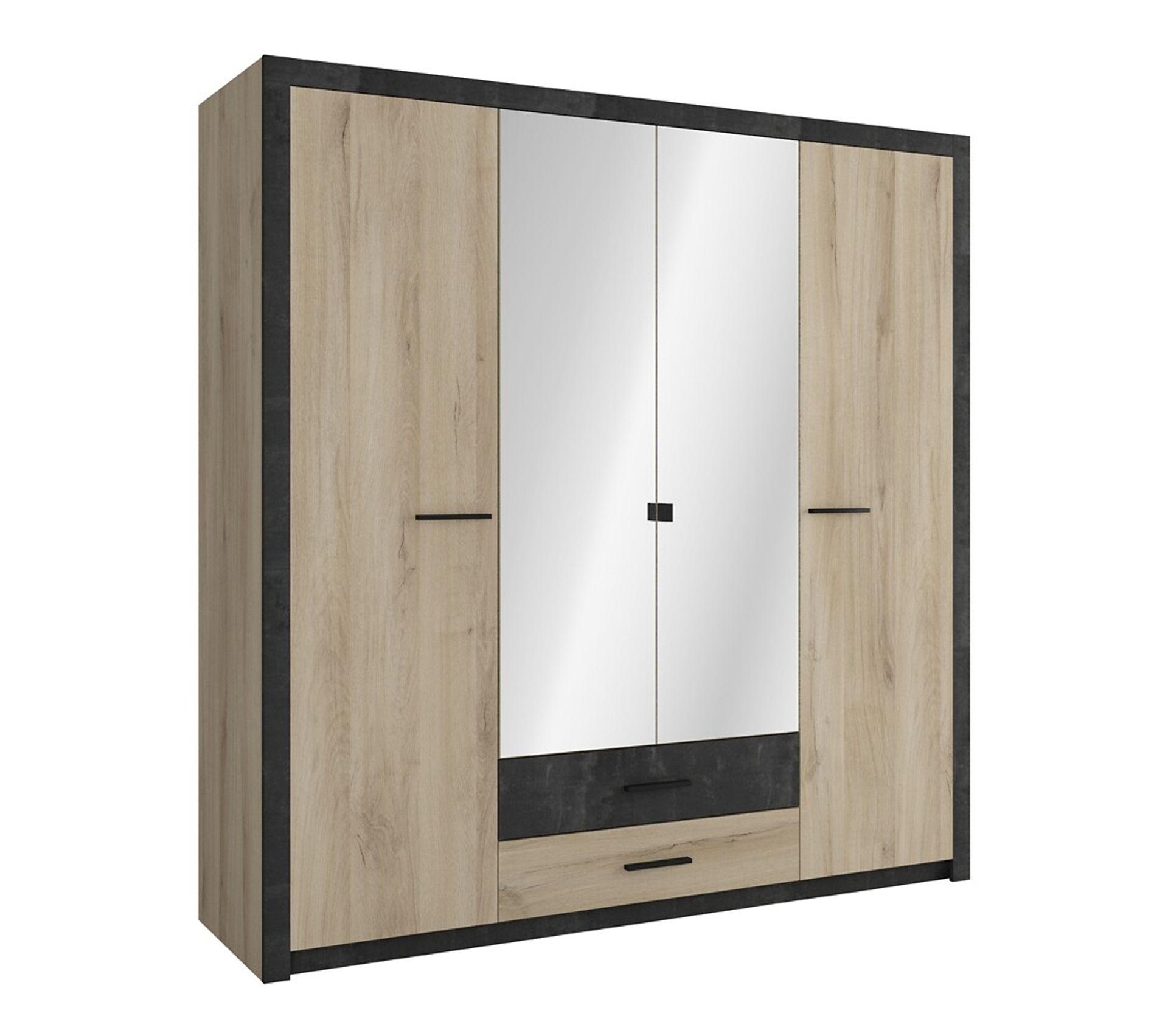 Armoire 4 Portes Avec Miroir Lingere Et Penderie Colo Style Industriel Armoire But