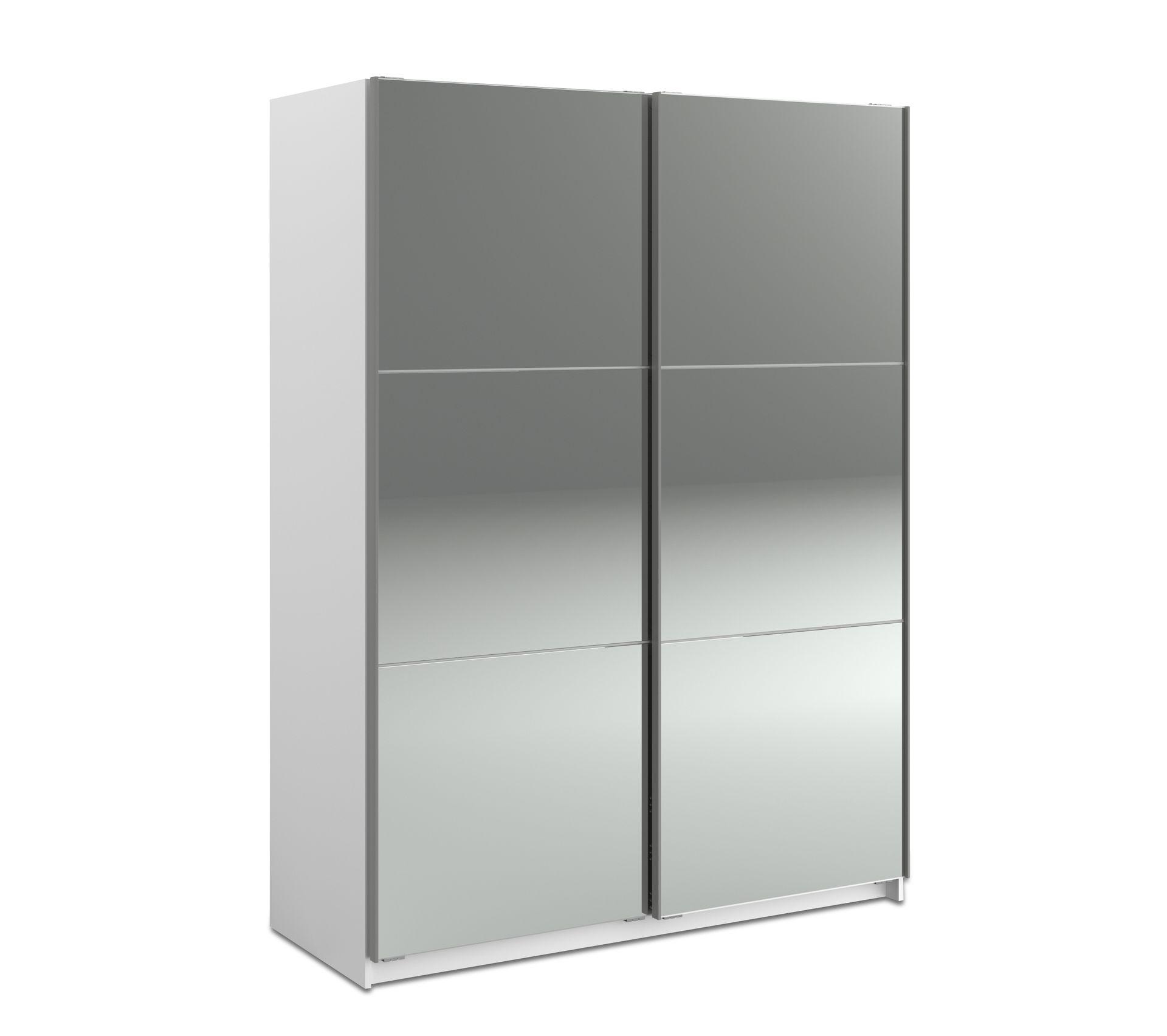 Armoire 2 Portes Coulissantes L 150 Cm Memo Double Miroir Armoire But