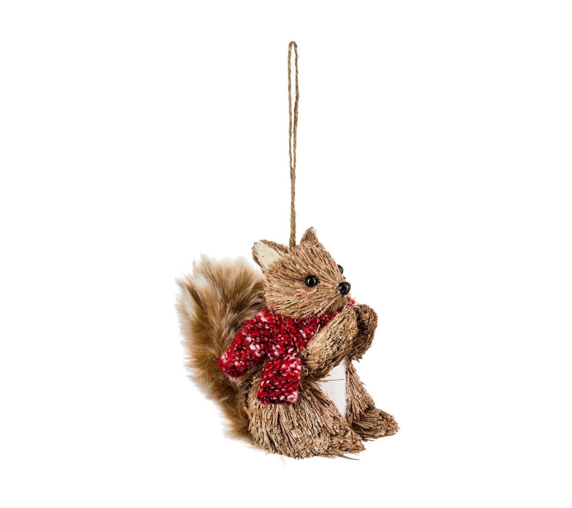 Paille De Fer Souris décoration sujet de noël animal en paille pailletée avec Écharpe rouge h 10  cm comptoir de noël