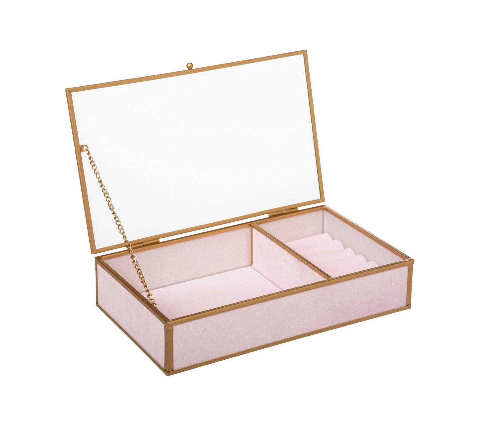 boite a bijoux en verre velours et metal dore l 23 cm