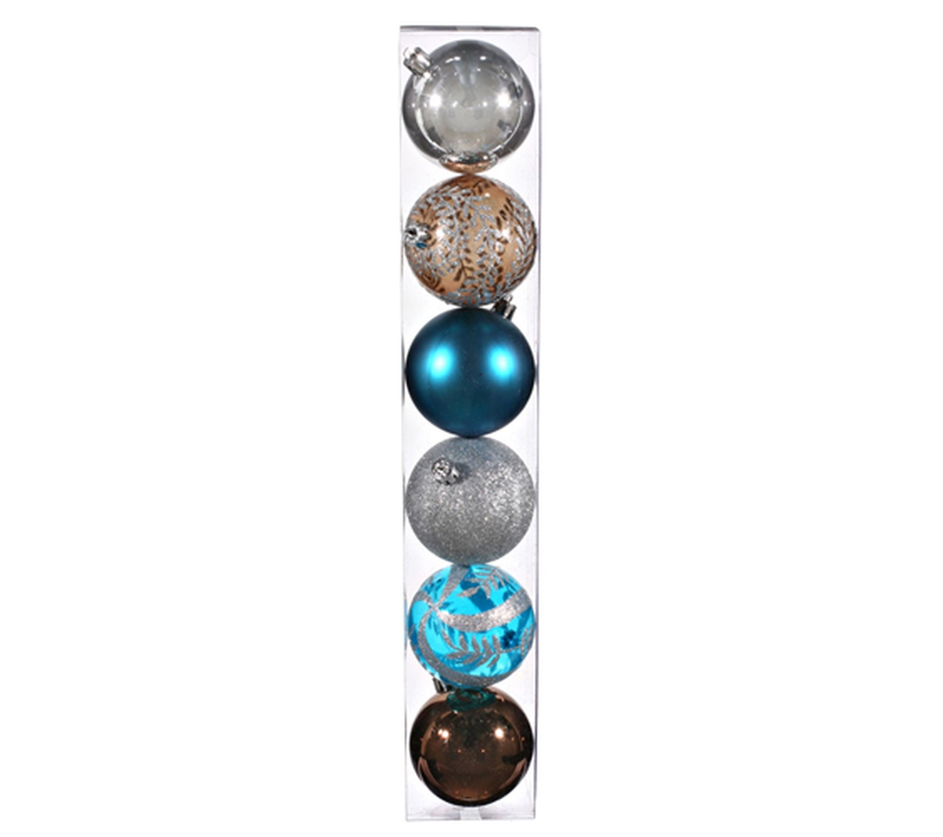 Salle De Bain Chocolat Turquoise lot de 6 boules de noël - diam. 80 mm - chocolat, turquoise et argent