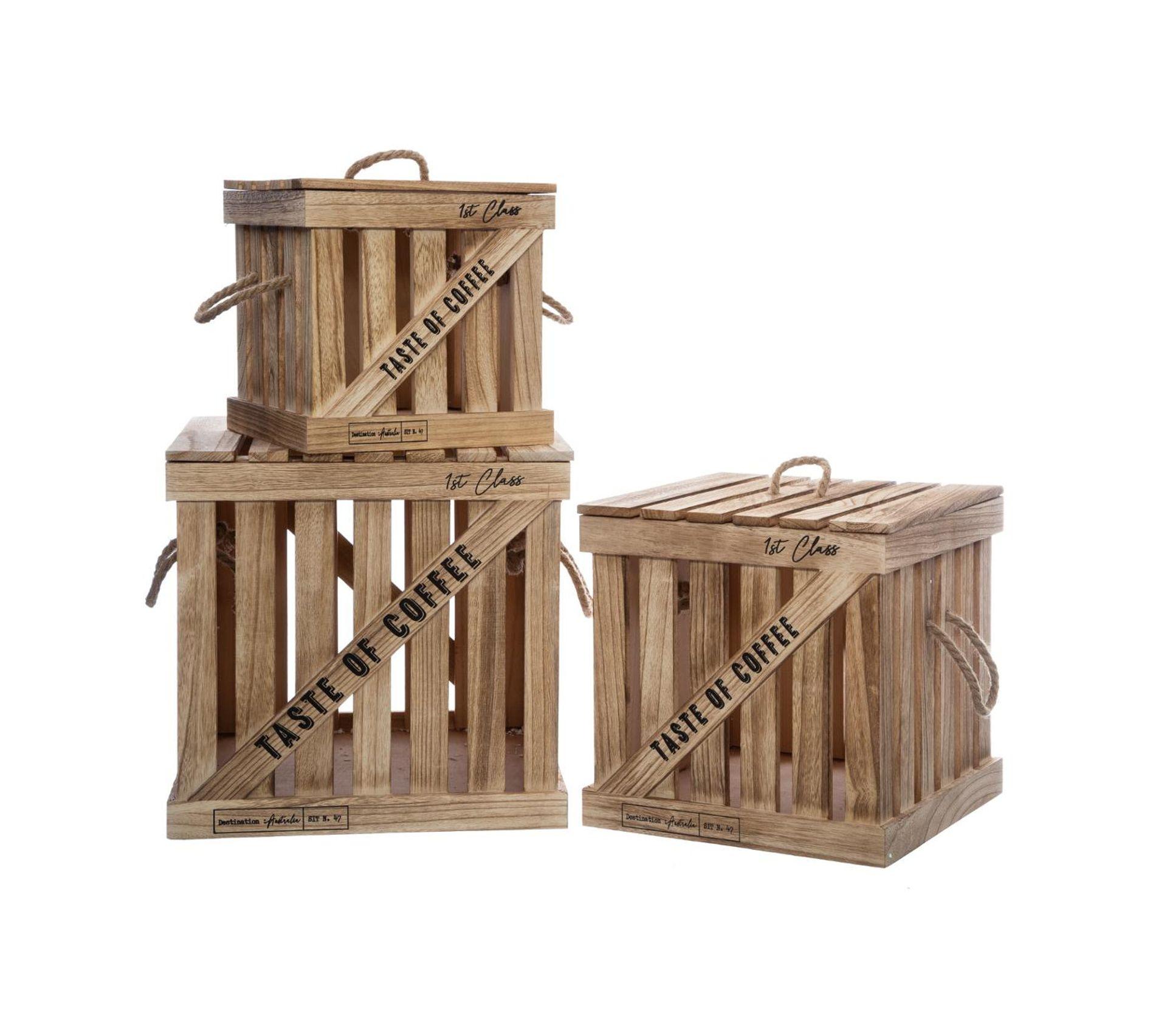 Rangement Pour Le Bois lot de 3 boites de rangement cagettes en bois colonial