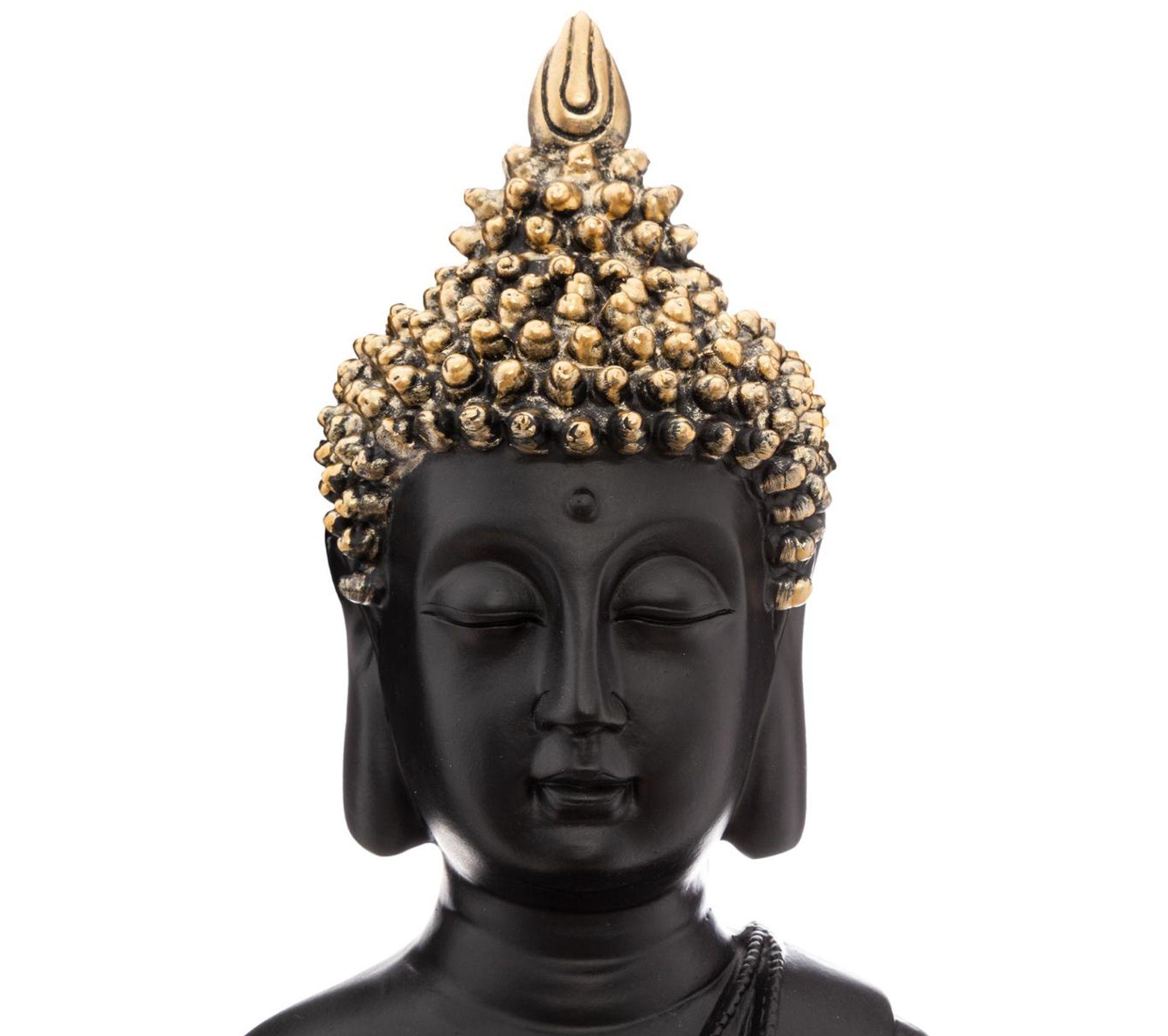 Statue Bouddha Assis En Résine Noir Et Or H 39.5 Cm